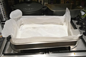 Line a shallow baking pan