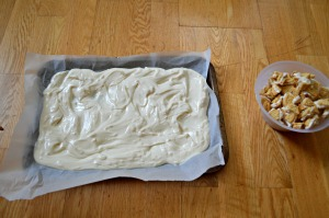 Spread it evenly over a lined baking sheet
