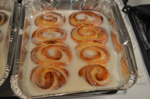 Golden rolls with frosting