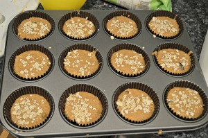 Pour batter into muffin tins liners