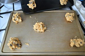 Place scoops of cookie dough on a greased baking sheet