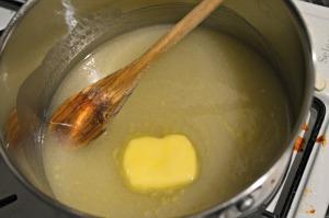 Melt together butter, sugar and coconut milk